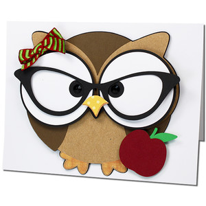 ms. owl teacher glasses card