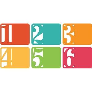 3x4 life cards horizontal numbers 1-6