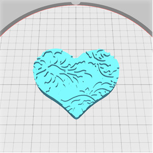 heart box lid with damask pattern lid