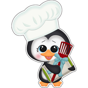 baking for santa penguin with cookie sheets sticker / die cut