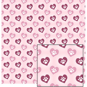 valentine dog paw pattern