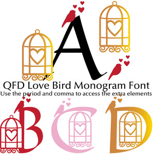 qfd love bird monogram font