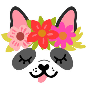 dog face with flower crown