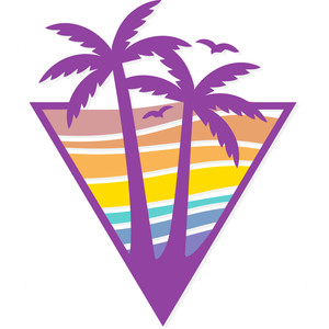 retro beach logo