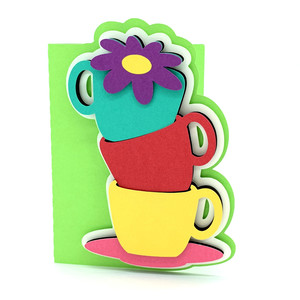 cups of tea and flower card