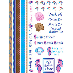 summer beach flip flop bullet journal & planner stickers