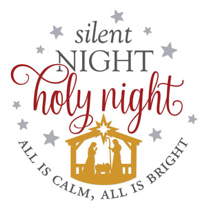 silent night round sign