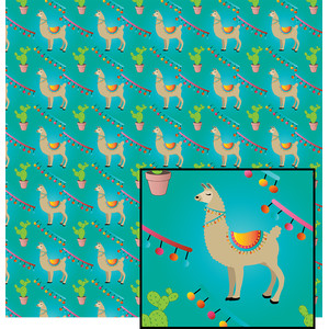 llama on teal pattern