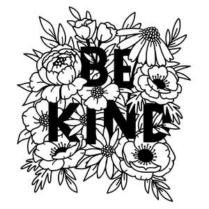 be kind quote in flower bouquet