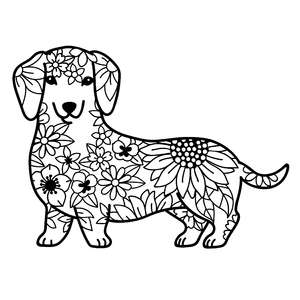 dachshund dog flower mandala