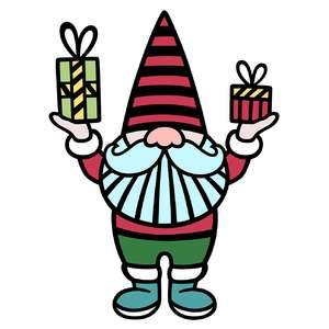 festive gnome with gifts