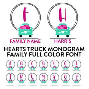 hearts truck monogram family full color font
