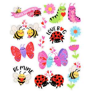 bees and bug valentine's stickers