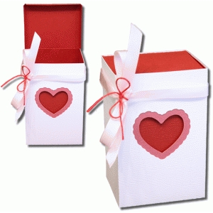 3d two way layered heart box