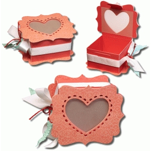 3d window heart favor box