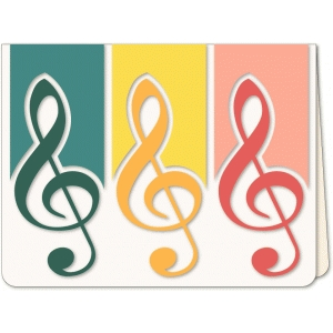 music treble clef trio a6 card