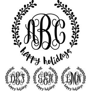 monogram basic script - happy holidays wreath