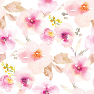 cute watercolor pink flower pattern