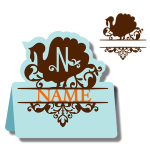 monogram place card & nameplate - turkey n
