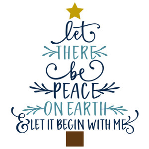 let there be peace - christmas word tree