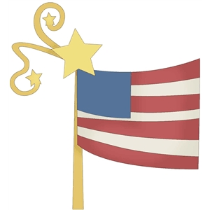 flag on pole with stars