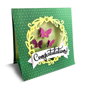 folded card with fluttering butterflies (envelope included)