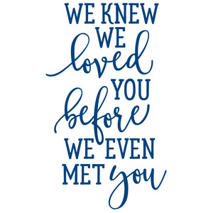 we knew we loved you before we even met you