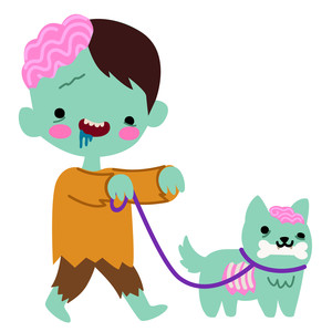 kawaii zombie walking dog