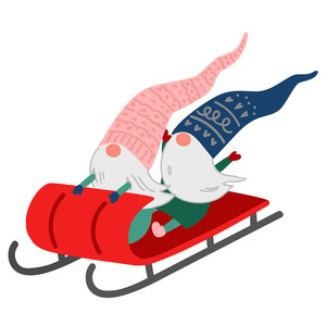 christmas gnomes sledding