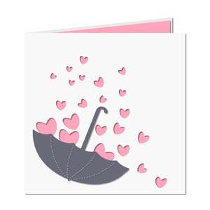 hearts w umbrella card
