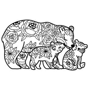 mother bear and cubs floral mandala