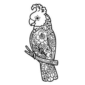 cockatoo bird tropical flowers mandala design