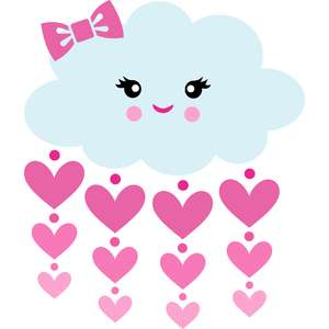 cute cloud with rain of hearts
