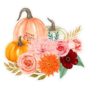 watercolor pumpkins flower bouquet peach