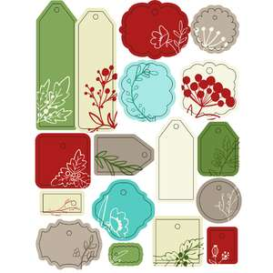 ml christmas berries and ferns tags stickers