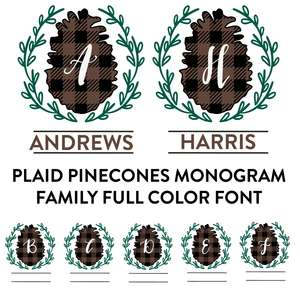 plaid pinecone monogram family full color font