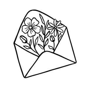 envelope with flowers