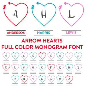 arrow heart monogram full color font