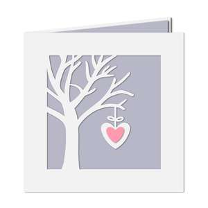 hanging heart tree card