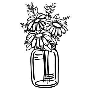 daisy mason jar arrangement