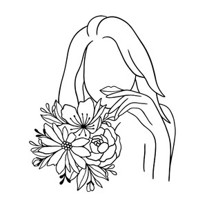 female silhouette with flowers line art