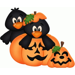 crows in pumpkin halloween