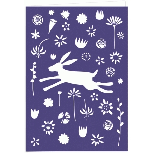 leaping woodland hare 7x5 cutout card