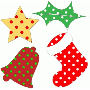 4 polka dot christmas shapes