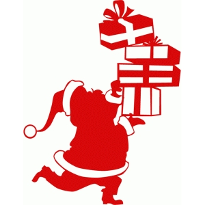 santa running with stack of gifts