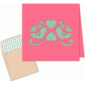birds and hearts mini valentine card + envelope