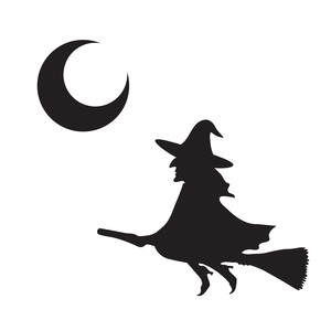 halloween scenes - witch and moon