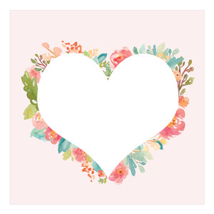 watercolor heart square background