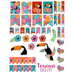 toucan-themed planner stickers