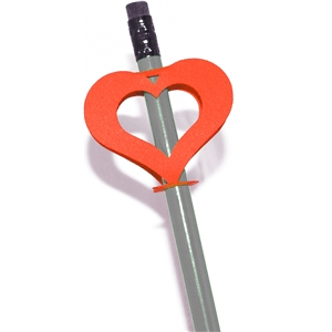 double sided pencil topper-heart